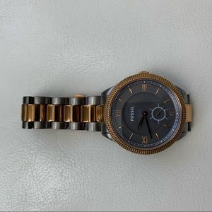 Rose Gold and Gray Fossil Watch